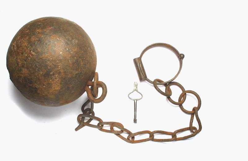 Rusty ball and chain with key