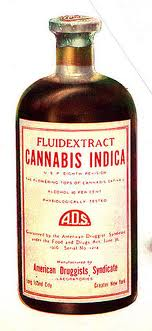 Old time cannabis medicine in a bottle