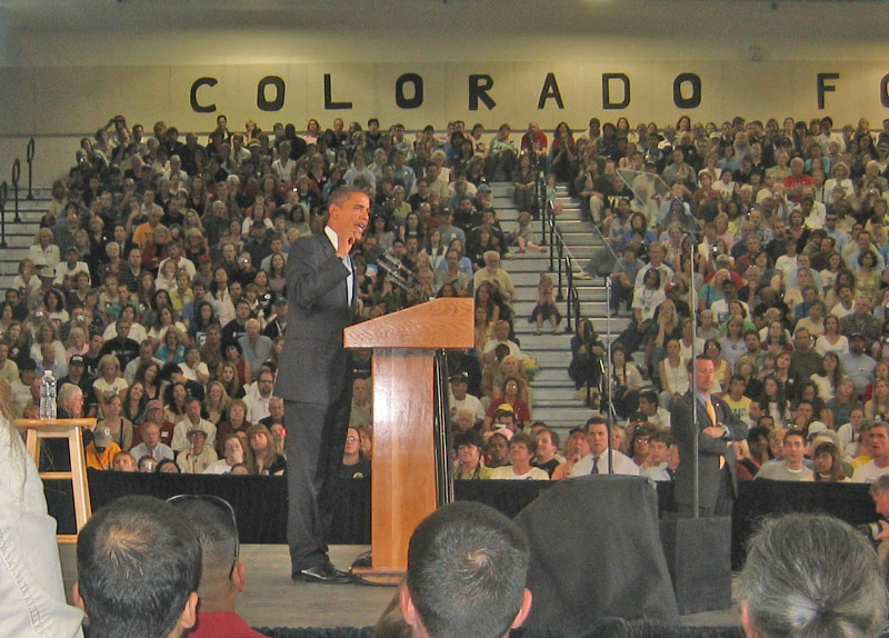 Candidate Barrack Obama speaks at a Colorado High School in 2008