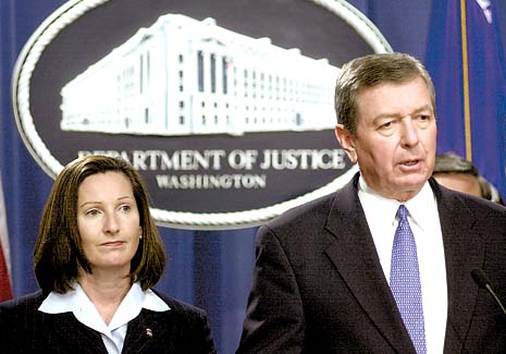 Mary Beth Buchanan who almost made a career case entrapping Tommy Chong in Operation Pipe Dreams poses with then Attorney General John Ashcroft