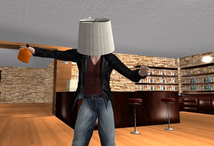 anime dancing with a lampshade on its head