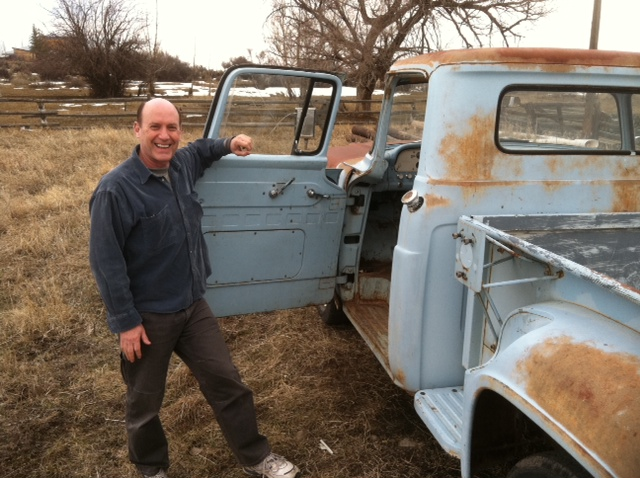 Lory Kohn and Lazarus, Geoff Gray's truck, in Paonia, Colorado