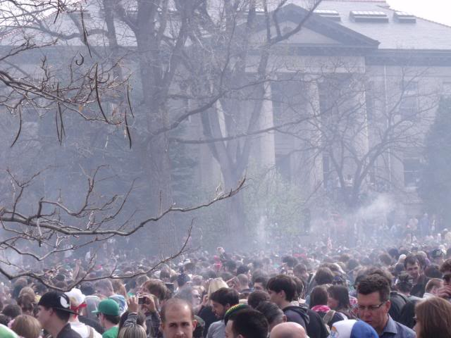 smoky scene from 420 at CU Boulder